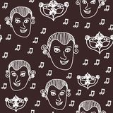 Vetor Wolfgang Amadeus Mozart que repete o fundo sem emenda do teste padrão com Mozart, notas e máscara barroco do carnaval ilustração royalty free