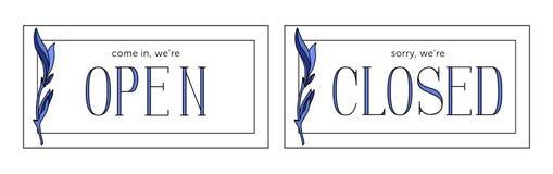 Vetores abertos e fechados do estoque da placa Estilo de Minimalistic ilustração royalty free