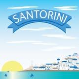 Vetores da paisagem de Santorini Foto de Stock Royalty Free