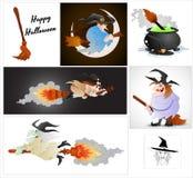 Vetores das bruxas de Dia das Bruxas dos desenhos animados Imagens de Stock