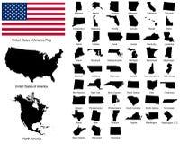 Vetores de estados dos EUA Foto de Stock Royalty Free