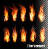 Vetores do fogo no fundo transparente Fotos de Stock Royalty Free