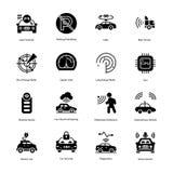 Vetores do Glyph da proteção do carro fotografia de stock royalty free