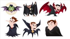 Vetores dos caráteres de Dracula dos desenhos animados Fotos de Stock Royalty Free