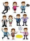 Vetores dos personagens de banda desenhada ajustados ilustração royalty free