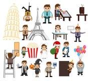 Vetores dos povos dos desenhos animados do feriado e do negócio ilustração stock
