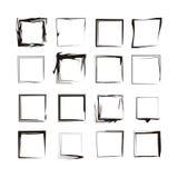 Vetores isolados do Grunge do fundo quadros de tinta preta Fotos de Stock Royalty Free