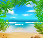 Vetorny landscape with a sky-blue ocean. Golden sands and palm trees Royalty Free Stock Photos