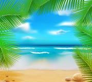 Vetorny Landschaft mit einem Himmel-blauen Ozean Lizenzfreie Stockfotos