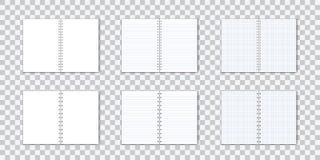 Vetorreeks van gedetailleerd document notitieboekje met lijnen en cirkelband op transparante achtergrond vector illustratie