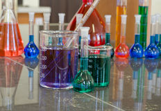 Vetreria per laboratorio riempita di prodotti chimici Fotografie Stock Libere da Diritti