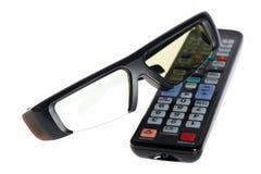 vetri 3d e telecomando della TV Immagine Stock