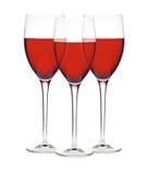 Vetri classici di vino rosso isolati su un bianco Fotografia Stock