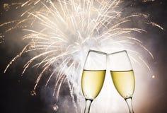 Vetri con champagne Fotografia Stock