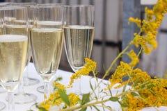 Vetri con champagne ed il succo di arancia su nozze Immagini Stock Libere da Diritti