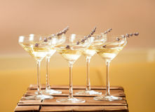 Vetri con di champagne bianco decorato con lavanda immagine stock
