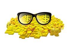 Vetri con la moneta ed il lingotto di oro Fotografia Stock