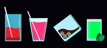 Vetri con le bevande Immagini Stock