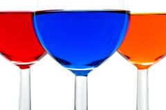 Vetri con le bevande di colore Immagini Stock