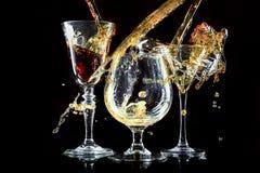Vetri con le bevande fresche del partito Immagine Stock