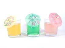 Vetri con le bevande variopinte Fotografia Stock