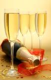 Vetri con un champagne Fotografie Stock