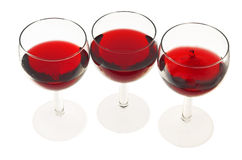Vetri con vino Fotografia Stock