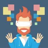 Vetri cyber di Digital di usura del video gioco del gioco di realtà virtuale dell'uomo illustrazione vettoriale