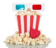 vetri 3D, grande popcorn della scatola quadrata, popcorn intorno e hea rosso Fotografia Stock