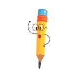 Vetri d'uso del fumetto di giallo del carattere astuto della matita, illustrazione divertente umanizzata di vettore della matita Fotografia Stock Libera da Diritti