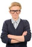 Vetri d'uso del geek del ragazzo sicuro del nerd Fotografia Stock