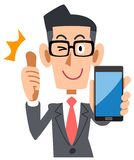Vetri d'uso dell'uomo d'affari da sfogliare su con uno smartphone illustrazione vettoriale