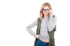Vetri d'uso della ragazza sexy del modello di moda Fotografia Stock