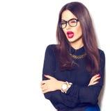 Vetri d'uso della ragazza sexy del modello di moda di bellezza Fotografia Stock