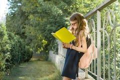 Vetri d'uso dello studente della scuola elementare della scolara con il taccuino della scuola della lettura dello zaino, stante v fotografie stock