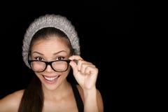 Vetri d'uso di occhiali dello studente fresco dei pantaloni a vita bassa Fotografia Stock