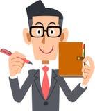 Vetri d'uso di un uomo d'affari ed il suo taccuino royalty illustrazione gratis