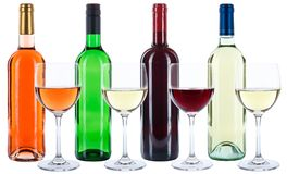 Vetri da bottiglia del vino che bevono l'alcool rosso della rosa di bianco isolato Fotografia Stock