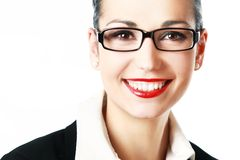 Vetri da portare sorridenti della donna Fotografie Stock