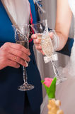 Vetri del champagne della tenuta dello sposo e della sposa Fotografie Stock Libere da Diritti