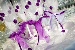Vetri del champagne di nozze Immagini Stock Libere da Diritti