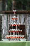 Vetri del champagne di nozze Fotografie Stock Libere da Diritti