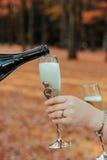 Vetri del champagne di nozze della tenuta della sposa Fotografie Stock Libere da Diritti