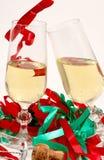 Vetri del champagne e del partito Fotografie Stock Libere da Diritti