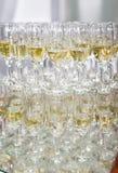 Vetri del champagne su bianco Fotografia Stock