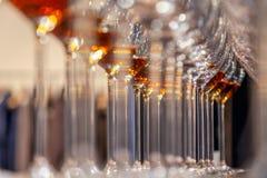Vetri del primo piano con il supporto del cognac nella linea Sotto la vista, fuoco molle Brandy del whiskey di alcoolici di degus immagine stock
