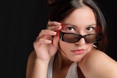 Vetri del progettista - modo d'avanguardia allegro della donna Immagine Stock