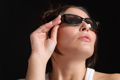 Vetri del progettista - modo d'avanguardia allegro della donna Fotografia Stock