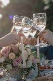 Vetri del tintinnio di champagne immagine stock