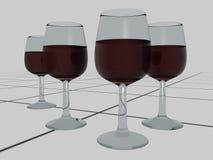 Vetri del vino rosso sulle mattonelle - 3D royalty illustrazione gratis